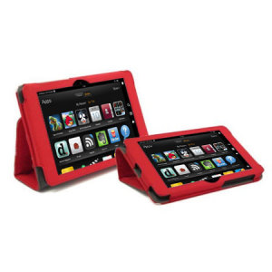 Folio Stand and Type Kindle Fire HD 2012 Case - Red