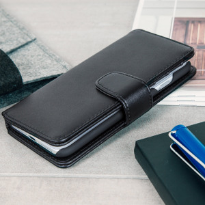 Genuine Leather iPhone 7 Wallet Case - Black