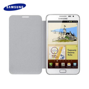 Genuine Samsung Galaxy Note Moulded Leather Flip Case - White