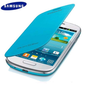 Genuine Samsung Galaxy S3 Mini Flip Cover - Light Blue