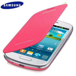 Genuine Samsung Galaxy S3 Mini Flip Cover - Pink - EFC-1M7FPECSTD