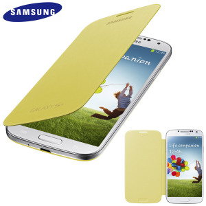 Genuine Samsung Galaxy S4 Flip Case Cover - Yellow