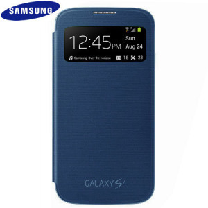 Genuine Samsung Galaxy S4 S-View Premium Cover Case - Blue