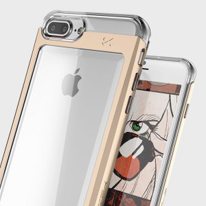 ghostek cloak iphone se aluminium tough case clear gold