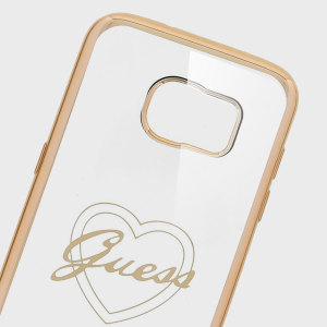Guess Signature Heart Samsung Galaxy S7 Edge Gel Case - Gold / Clear