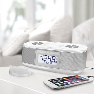 unzip iluv timeshaker micro bluetooth led alarm clock speaker white Android