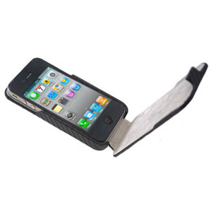 iPhone 4S / 4 Flip Case - Carbon Fibre