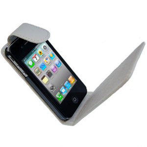 iPhone 4S / 4 Leather Style Flip Case - White