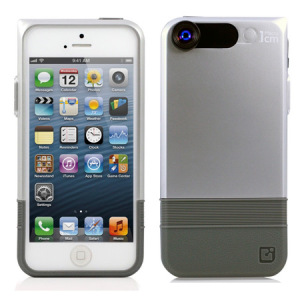 iPhone 5S / 5 Double-Layer Case with Macro Lens- Silver/Grey