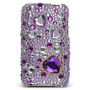 iPod Touch 2/3G Diamante Back Cover - Purple Hearts