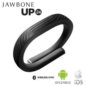 Jawbone UP24 Activity Tracking Bluetooth Wristband - Onyx - Large
