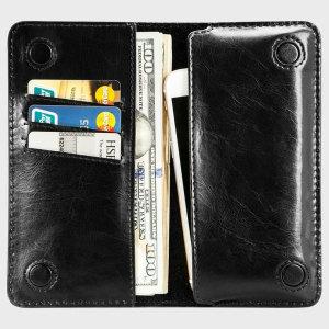 Jison Case Genuine Leather Universal Smartphone Wallet Case - Black