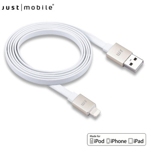 Just Mobile AluCable 4ft / 1.2m Flat Lightning Cable - White / Gold