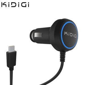 Kidigi Universal USB-C Car Charger for Smartphones and Tablets - Black