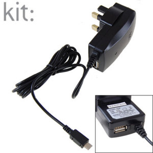 Kit: Micro USB Mains Charger With Spare USB Port