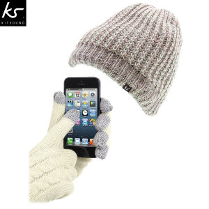 KitSound Audio Beanie and Touch Screen Gloves Pack - Gold Lurex Thread