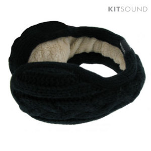 KitSound Knitted Ear Muff Headphones with Mic - Black