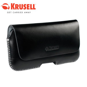 Krusell Hector Large Long Leather Pouch Case - Black