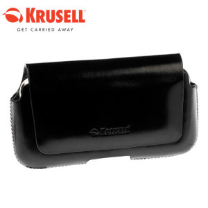 Krusell Hector Medium Wide Leather Pouch Case - Black