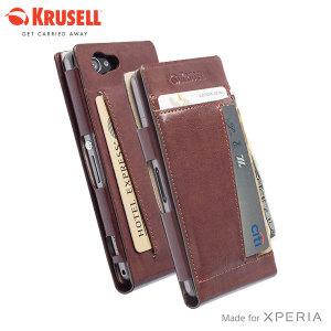 Krusell Kalmar Sony Xperia Z1 Compact Wallet Case - Brown