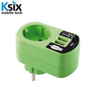 Ksix 3.1A Dual USB and EU Mains Charger - Green