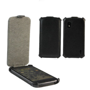 Leather Flip Case for Google Nexus 4 -  Black