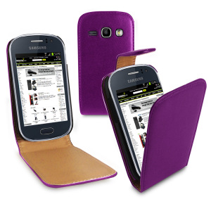 Leather Style Flip Case for Samsung Galaxy Fame- Purple