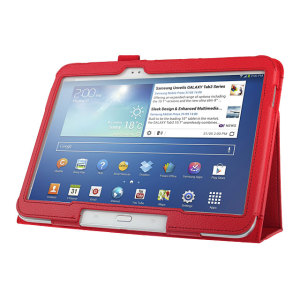 Leather Style Folio Case with Stand for Galaxy Tab 3 10.1 - Red