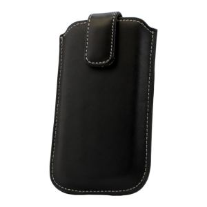 Leather Style Pouch for Nokia Asha 300 - Black