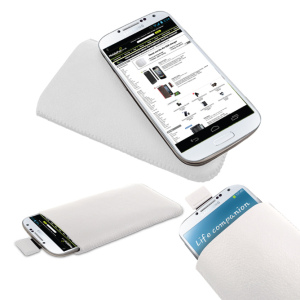 Leather Style Slip Pouch For Samsung Galaxy S4 - White