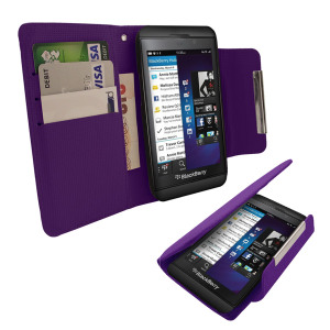 Leather Style Wallet Case for BlackBerry Z10 - Purple