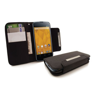 Leather Style Wallet Case for Google Nexus 4  - Black