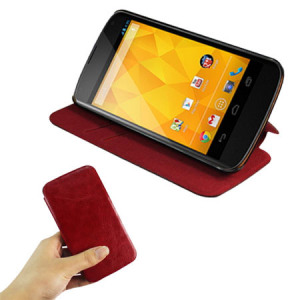 Leather Style Wallet Case for Google Nexus 4 - Red