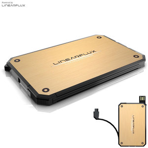 Linearflux LithiumCard Portable Power Bank - Micro USB - Gold