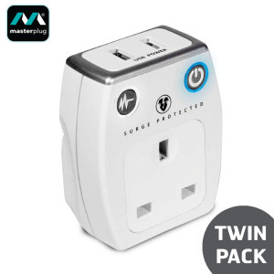 Masterplug Surge Protected 2.1A USB & Mains Charger Twin Pack - White
