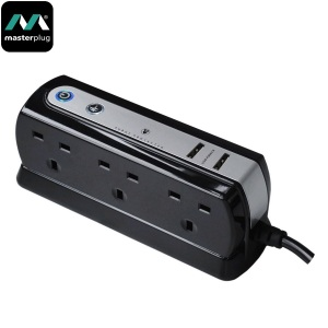 Masterplug Surge Protected 6 Plug Power Block with Dual USB - Black
