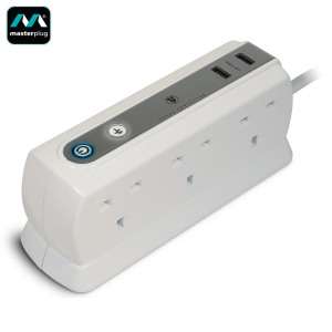 Masterplug Surge Protected 6 Plug Power Block with Dual USB - White