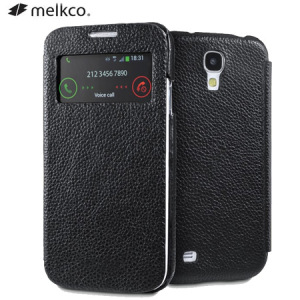 Melkco Leather Face Cover Case for Samsung Galaxy S4 - Black