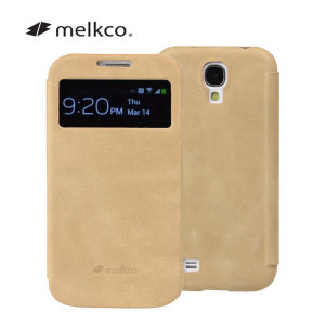 Melkco Leather Face Cover Vintage for Samsung Galaxy S4 - Khaki