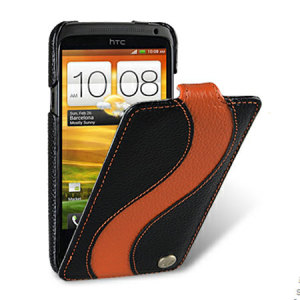 Melkco Leather Flip Case For HTC One X - Black / Orange