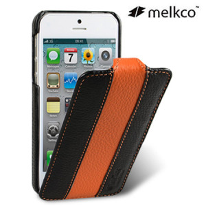 Melkco Leather Flip Case for iPhone 5S / 5 - Orange / Black