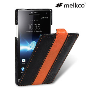 Melkco Premium Leather Flip Case for Sony Xperia S - Orange/ Black