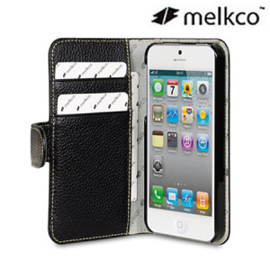 Melkco Premium Leather Wallet Case for iPhone 5S / 5 - Black