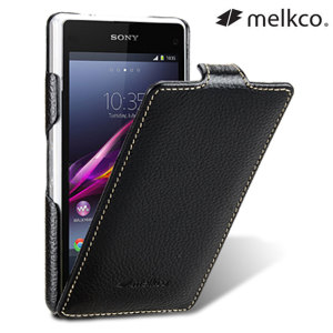 Melkco Sony Xperia Z1 Compact Premium Leather Flip Case - Black