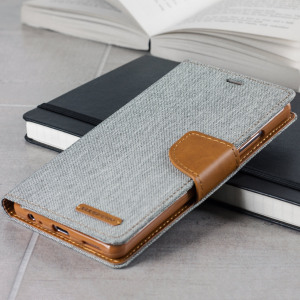 Mercury Canvas Diary Huawei P9 Plus Wallet Case - Grey / Camel