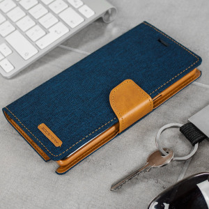 Mercury Canvas Diary Samsung Galaxy Note 7 Wallet Case - Navy / Camel