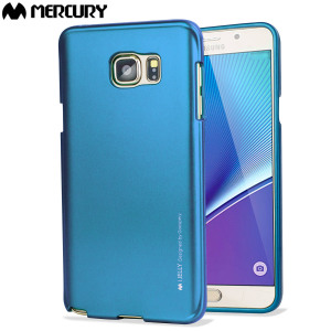 Mercury Metallic Silicone finish hard case Samsung Galaxy Note 5- Blue