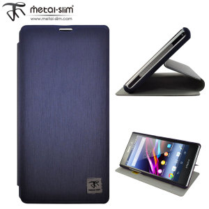 Metal-Slim Classic U Case with Stand for Sony Xperia Z1 - Blue