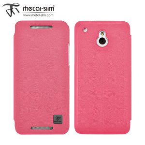 Metal-Slim UV Protective Flip Case for HTC One Mini - Pink