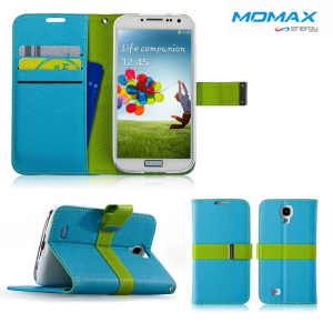 Momax Samsung Galaxy S4 Flip Diary Case - Blue / Green